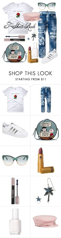 """You Are Beautiful!"" by libridiligo ❤ liked on Polyvore featuring Dsquared2, adidas, Olympia Le-Tan, Gucci, Lipstick Queen, Yves Saint Laurent, Marc Jacobs, Essie and Maison Michel"