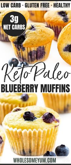Keto Low Carb Paleo Blueberry Muffins Recipe with Almond Flour - Ultra moist almond flour blueberry muffins from scratch are quick and easy to make! This low carb paleo blueberry muffins recipe takes just 30 minutes. #wholesomeyum Blueberry Muffins From Scratch, Paleo Blueberry Muffins, Blue Berry Muffins, Low Carb Recipes, Real Food Recipes, Almond Flour Recipes, Muffin Recipes, Baked Goods, Homeschool