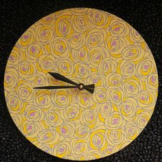 Yellow Yuzen Rose Clock by halcyon on Etsy