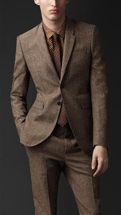 Burberry Prorsum Brown Slim Fit Tweed Jacket