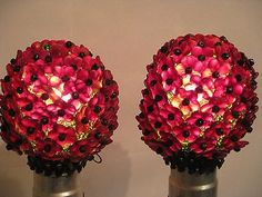 Antique Pair Hinged Light Bulb Covers Deep Ruby Red Green Czech Glass Flowers…