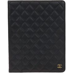 Pre-owned Chanel Black Caviar Quilted iPad Case Holder ($995) ❤ liked on Polyvore featuring accessories, tech accessories, ipad sleeve case, apple ipad cover case, chanel, apple ipad leather case and apple ipad case