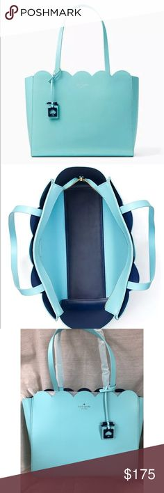 """New Kate Spade Lily Ave Miki scallops Tiffany blue Brand new with tags Kate Spade Lily Ave Miki scallop bag measures 15"""" x 10"""" x 5.5""""double shoulder straps with 9.5"""" drop. The color is almost an exact match to Tiffany blue. kate spade Bags Satchels"""