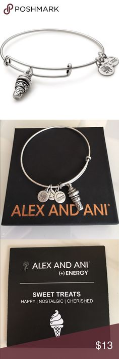 Alex & Ani Sweet Treats Silver Bracelet Cute ice cream cone. Silver. New in box. Alex & Ani Jewelry Bracelets