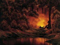 """One of the few Bob Ross paintings in PBS's """"The Joy of Painting"""" that featured a person."""