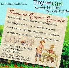 Wedding Favors Recipe Cards Boy and Girl Theme qty 50 by handykane, $9.99