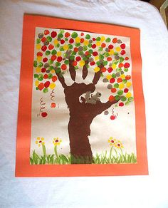 Preschool Crafts for Kids*: Fingerprint Fall Tree Craft - I wouldn't do this one with too young kids- the 5 year old was over it after 6 finger prints. Maybe a good craft for older kids to do on their own- after the trunk of course.