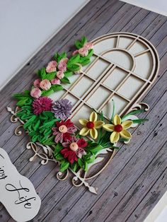 Quilling Card With Window and Pink and Yellow Flowers
