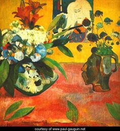 Still life with japanese print by Paul Gauguin. Paul Gaughin was another artist whose bold use of colour influenced Van Gogh . Paul Gauguin, Tahiti, Henri Matisse, Japanese Prints, Japanese Art, Japanese Woodcut, Art Français, Impressionist Artists, Art Moderne