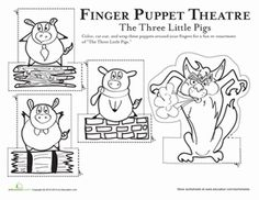 Kindergarten Paper Projects Fairy Tales Worksheets: Three Little Pigs Finger Puppets