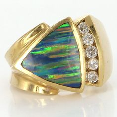 Vintage 14 Karat Yellow Gold Diamond Black Opal Cocktail Mens Ring Estate Jewelry