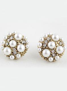 Pendientes perlas y cristales dorado EUR€4.76