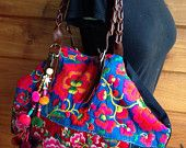 Vintage Hmong baby carrier tote bag ethnic handmade Tribal geuine leather strap