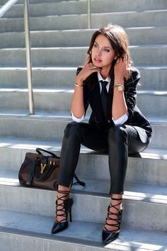 lace up heels softens the look while also adding edge