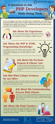 To get completely dynamic and feature-rich PHP based website for your business, you should hire an expert PHP developer, who comprehends your needs and develop an excellent PHP based website for your business that help you to expand your business. Hiring an expert PHP developer is not as easy as it sounds as you need to be very careful while hiring them. In this infogrpahic http://www.perceptionsystem.com/hire-php-mysql-programmers.html