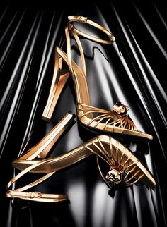 Gucci Gold Metallic Ankle Strap Sandal