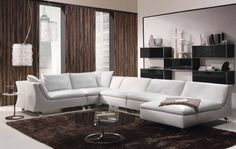 Cool and Warm Living Room Color Ideas | Amazing living room with white sofa and glass table