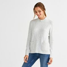 Spun from our new yarn – an alpaca-enriched blend which has a gorgeously fuzzy finish – this jumper has a soft funnel neck and two patch pockets. A ribbed knit accents the neck, pockets, cuffs and hem, adding structure and comfort. Jumper Outfit, The White Company, Funnel Neck, Clothes For Sale, Turtle Neck, Knitting, Clothing, Sweaters, Fashion