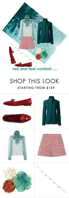 """red and teal contest …"" by norah-abdullah ❤ liked on Polyvore featuring Dolce&Gabbana, Lands' End, Rochas, Alexis and Jacquie Aiche"