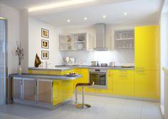 Стильная кухня в желтом цвете.