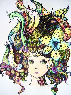 Zentangle Hair - student work - Alize Face Art, Drawings, Creative, Zentangle, Art, Zen Doodle, Arts And Crafts, Doodle Inspiration, 8th Grade Art