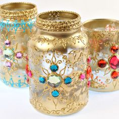 Use recycled jars, puff paint and gems to make beautiful boho lanterns for your home.