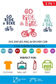 Go Ride a Bike SVG Cut Files Wall Art Quote Printable Art Decor Bedroom Living room Art Printable Poster (Svg Dxf Cdr Eps Ai Jpg Pdf Png)