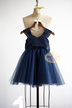99273e3ace3 Navy Blue Lace Tulle Flower Girl Dress Junior by MonbebeLagos