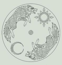 Celtic Moon Sun and Wolf