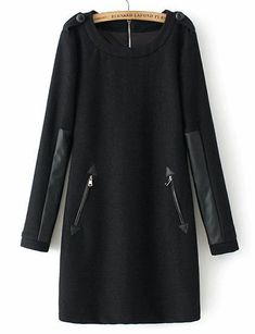 To find out about the Black Long Sleeve Contrast PU Leather Zipper Dress at SHEIN, part of our latest Dresses ready to shop online today! Trendy Dresses, Casual Dresses, Hijab Fashion, Fashion Dresses, Fashion Clothes, Boho Fashion, Mode Hijab, Sweatshirt Dress, Latest Dress