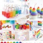 mesa de postres arcoiris