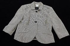 Worthington Jacket Blazer Womens Petite Size 12P Black and White Career Clothing