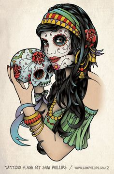Sams Blog: Gypsy Holding Sugar Skull Tattoo - my next tattoo. Substitute green for purple on dress and hair band. Also make the rose blue (jacob),  and try and fit in pink carnation (maddy), pink narcissus (natty noo) and yellow marigold (Chloe)
