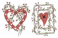 Folk Hearts Set, 10 Designs - 4x4   Primitive   Machine Embroidery Designs   SWAKembroidery.com