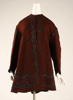 Paletot  Date: 1863–65  Culture: American  Medium: wool, glass, silk  Dimensions: Length at CB: 34 1/2 in. (87.6 cm)  Credit Line: Gift of Mrs. Robert S. Kilborne, 1958  Accession Number: C.I.58.67.1  Metropolitan Museum of Art  Full item description & additional photos here.