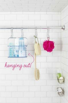 Extra shower rod storage