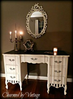 A lovely vanity desk, beautifully finished in Graphite & Old White Chalk Paint® decorative paint by Annie Sloan. We just love the contrasting colors of this piece, especially the great use of stripes | By Charmed by Vintage http://www.etsy.com/shop/CharmedByVintage?ref=ss_profile
