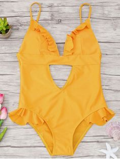 Cutout Frilled One Piece Swimsuit - YELLOW S