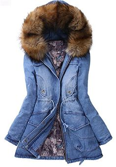 Womens Fashion Winter Warm Fur Collar Hooded Thicken Long Cotton Washed Denim Parka Coat >>> Details can be found by clicking on the image. (This is an affiliate link)