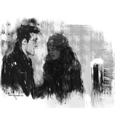 """blvnk-art: """"""""Hermione had taken his hand again and was gripping it tightly. He could not look at her, but returned the pressure, now taking deep, sharp gulps of the night air, trying to steady. Harry Potter Marauders, Harry Potter Tumblr, Harry Potter Hermione, Harry Potter Books, Harry Potter Fan Art, Harry Potter World, Hermione Granger, Marauders Era, Harry Potter Illustrations"""