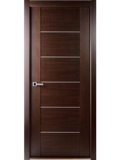 Contemporary African Wenge Interior Single Door with Aluminum Strips Single Door Design, Home Door Design, Bedroom Door Design, Wooden Door Design, Front Door Design, Bedroom Doors, White Wooden Doors, Modern Wooden Doors, Custom Wood Doors