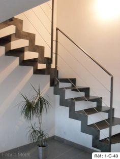 Le brannec escalier m tallique et bois avec des fer plat 40 x 12 mm acier - Escalier moderne quart tournant ...