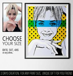 Personal print in pop-art style. Creative poster for your home, great gift for men and women.