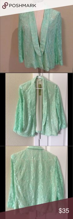 Gianni Bini NWTs open front green lace blazer Size large lightweight mint green blazer with sheer sleeves. Gianni Bini Jackets & Coats