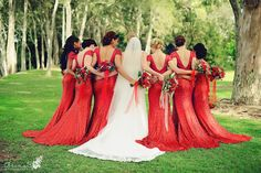 Gorgeous Red Bridesmaids | Arina B Photography #sequin #sequinbridesmaids #redbridesmaids #sequin-dresses #redwedding