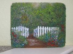 Fused Glass Landscape Panel - Frit Painting
