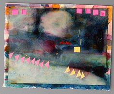 lake watercolor collage paper art yellow pink by EeliArtStudio