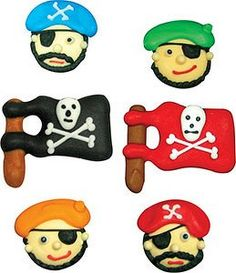 Pirate Themed Cupcake Toppers Edible Pirate Faces and Flags