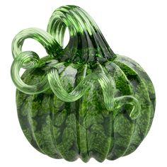 Vitrix Hot Glass Studio: Pumpkin Paperweight, Green with Green Stem  #cmogshops #glass #pumpkins #decor #fall