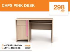 This Caps pink desk is the perfect combination of function, durability, and design in a modern form. Made from high-quality chipboard in a light Belluno oak finish it has ample work surface, two drawers and a keyboard shelf with metal slides. This spacious desk can hold accents, a laptop or a stack of stationery and easily blend with a variety of decors and multifunctional spaces. More details: http://gtfshop.com/caps-pink-desk